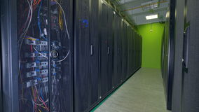 Data center cabinets with black mesh doors. stock video footage