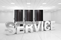 Data Center with chrome service. Text infron of the servers Royalty Free Stock Photography