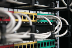 Network Cables. Data center close up,part of system room Stock Photos