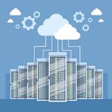 Data Center Cloud Connection Hosting Server Computer. Information Database Synchronize Technology Flat Vector Illustration Royalty Free Stock Image