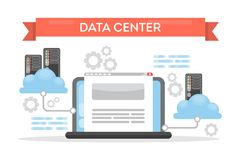 Data center cloud. Data center cloud tecnology for data storage and protection Stock Photos
