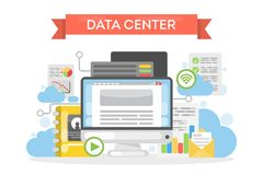 Data center cloud. Data center cloud tecnology for data storage and protection Stock Photo