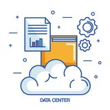 Data center cloud file archive document. Vector illustration Royalty Free Stock Images