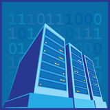 Data Center color. Stylized illustration of a data center, a supercomputer, servers and other computing facilities Stock Photography
