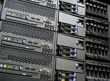 Data Center Computer Servers. Rack Mounted Data Center Computer Servers in a Cluster Stock Image