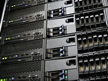 Data Center Computer Servers. Servers Rack Mounted in Data Center Computer Cluster Stock Images