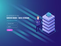 Data center concept, databases and internet information security, system administration, IT isometric 3d. Vector Royalty Free Stock Photography