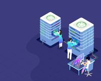 Data Center concept isometric design, illustration of web server vector illustration