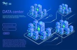 Data center design concept. Isometric vector illustration. Data center design concept. Isometric vector illustration in ultraviolet colors. Cloud and data royalty free illustration