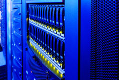 Data center disk storage perspective closeup. Data center modern disk storage perspective closeup Stock Photos