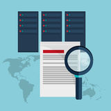 Data center document analysis search. Vector illustration eps 10 Royalty Free Stock Image