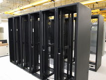 Data Center and empty racks. Internet technologies, server farm, racks and optical fibers Royalty Free Stock Photo