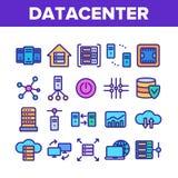 Data Center f?r vektorsymboler f?r teknologi linj?r upps?ttning vektor illustrationer