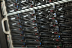 Data center with hard drives. Server rack cluster in a data center Stock Image