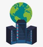 Data center hardware process globe Stock Image