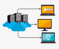 Data center and hosting. Data center, cloud computing and hosting, vector illustration eps 10 Royalty Free Stock Images