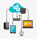Data center and hosting. Data center, cloud computing and hosting, vector illustration eps 10 Stock Photography
