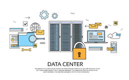 Data Center Hosting Server Computer Device Information. Database Technology Banner Thin Line Vector Illustration Royalty Free Stock Photos