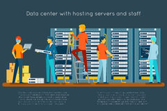 Data center with hosting servers and staff Royalty Free Stock Photos