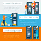Data center and hosting vector banners set Stock Photography