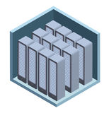 Data center icon, server room. Vector illustration in isometric projection, isolated on white. royalty free illustration