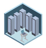 Data center icon, server room. Vector illustration in isometric projection, isolated on white. Royalty Free Stock Photo