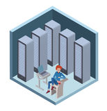Data center icon, system administrator. Man sitting at the computer in server room. Vector illustration in isometric Royalty Free Stock Photos