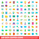 100 data center icons set, cartoon style. 100 data center icons set in cartoon style for any design illustration Royalty Free Illustration