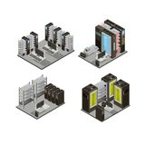 Data Center Isometric Compositions. Including hosting servers for cloud services with workstation for administration isolated vector illustration Stock Photos