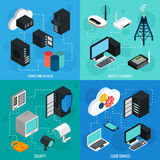 Data Center 2x2 Isometric Icons Set. With database cloud services security and wireless technology  isometric vector illustration Royalty Free Stock Photo
