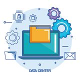 Data center laptop computer file document system secure. Vector illustration Royalty Free Stock Image