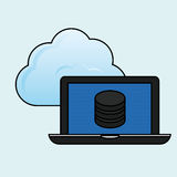 Data center and laptop design, vector illustration Royalty Free Stock Photos