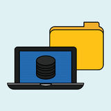 Data center and laptop design, vector illustration Stock Images