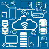 Data center and network elements vector icons Royalty Free Stock Photos