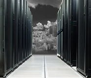 Data center over the technology city in direct sun. In black and white tone royalty free stock photography