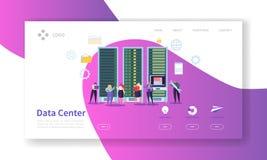 Data Center pojęcia lądowania strona Gościć Usługowych charakterów dane magazynu pracy procesu strony internetowej Obłocznego sza ilustracji