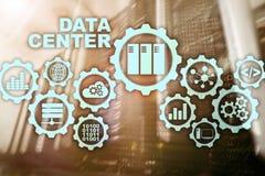 Data Center przyszłość na wirtualnym ekranie Biznesowy technologie informacyjne pojęcie Magazynowania zabezpieczać i dane ilustracja wektor
