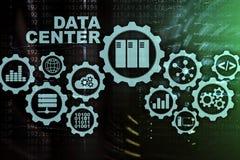 Data Center przyszłość na wirtualnym ekranie Biznesowy technologie informacyjne pojęcie Magazynowania zabezpieczać i dane ilustracji