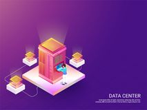 Data Center responsive web template design with isometric illust Royalty Free Stock Photography