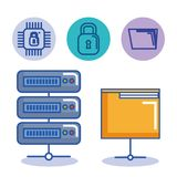 Data center server folder file protection digital. Vector illustration Stock Images