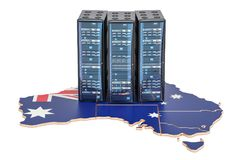 Data Center server racks in Australia concept, 3D rendering Royalty Free Stock Images