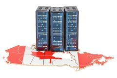 Data Center server racks in Canada concept, 3D rendering. Data Center server racks in Canada concept, 3D Royalty Free Stock Photo