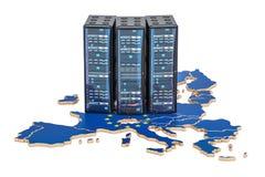Data Center server racks in European Union concept, 3D rendering Stock Photography