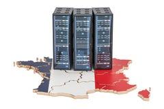 Data Center server racks in France concept, 3D rendering Stock Image