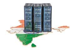Data Center server racks in India concept, 3D rendering Royalty Free Stock Photos