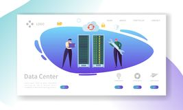 Data Center Server Repair Landing Page. Technician Character Support Professional Storage with Laptop. Database Hosting. Hardware Infrastructure Website or Web stock illustration