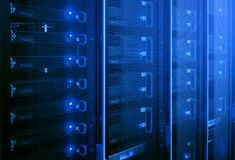 Data center, server room. Web internet and network telecommunication technology, big data storage and cloud computing computer service business concept royalty free stock photography