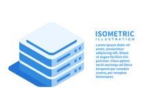 Data center, server room, data storage icon. Isometric template for web design in flat 3D style. Vector illustration stock illustration
