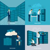 Data Center Set. Data center design concept set with hosting servers flat icons  vector illustration Stock Photos