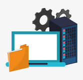 Data center setting laptop file. Vector illustration eps 10 Royalty Free Stock Image